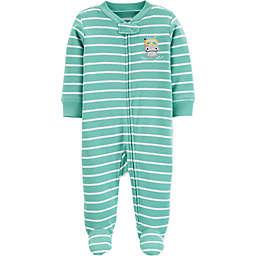 carter's® Preemie Stripe Hippo Footie in Green