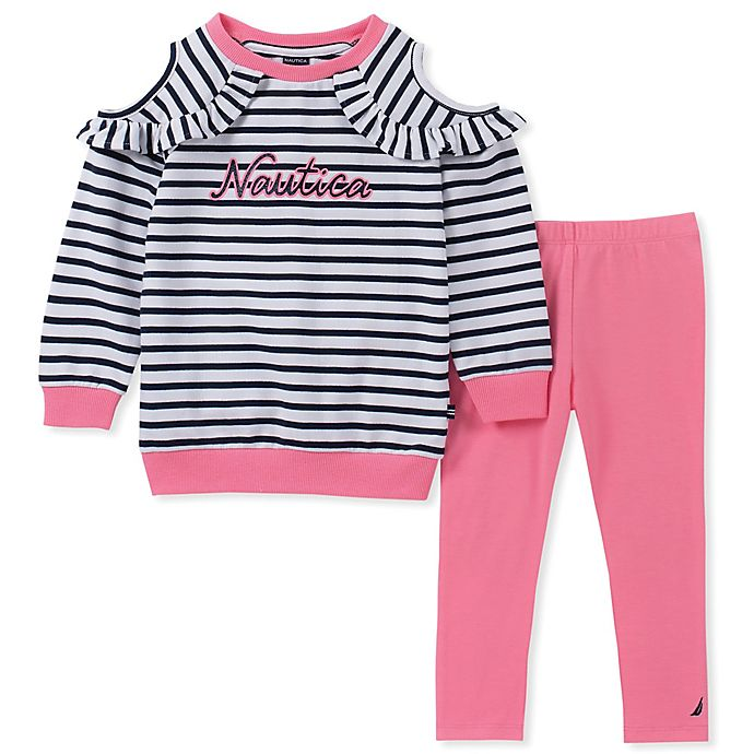 Alternate image 1 for Nautica® 2-Piece Long Sleeve Striped Cold Shoulder Top and Pant Set