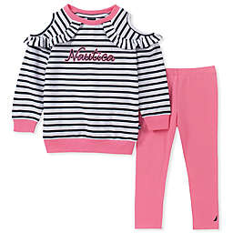 Nautica® 2-Piece Long Sleeve Striped Cold Shoulder Top and Pant Set