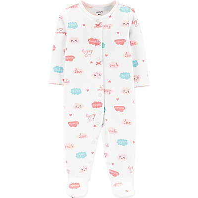 carter's® Clouds and Words Snap-Front Footie in Grey