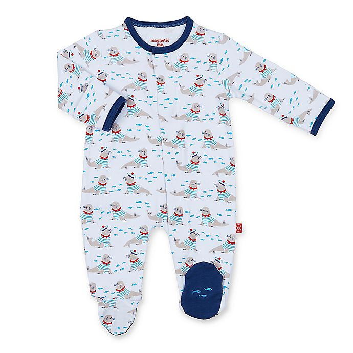 Alternate image 1 for Magnetic Me™ Petit Marin Magnetic Cotton Footie in Blue