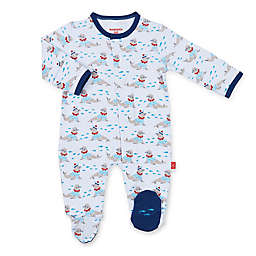 Magnetic Me™ Petit Marin Magnetic Cotton Footie in Blue