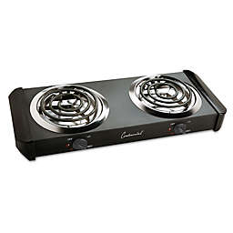 Continental Electric Coil Double Burner in Black