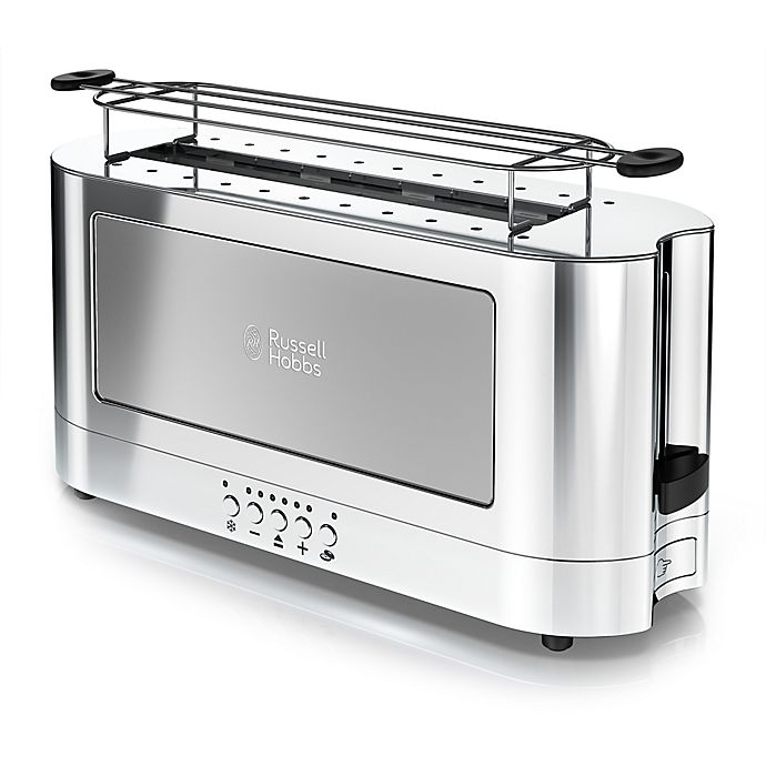 Alternate image 1 for Russell Hobbs 2-Slice Glass Accent Long Toaster in Stainless Steel
