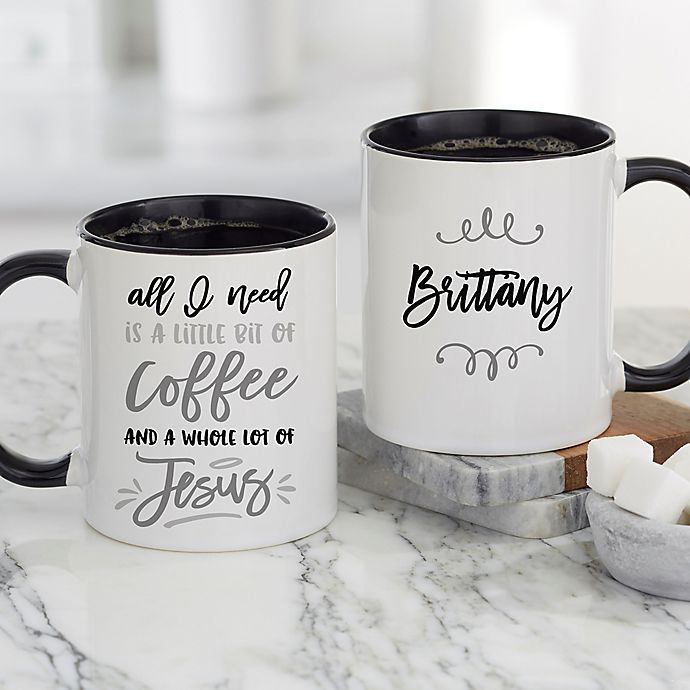 Alternate image 1 for A Little Bit of Coffee and a Whole Lot of Jesus Personalized Coffee Mugs in Black