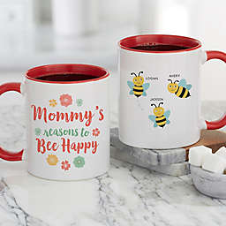 Bee Happy Personalized 11 oz. Coffee Mug in Red