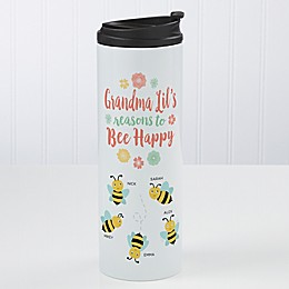 Bee Happy Personalized 16 oz. Travel Tumbler