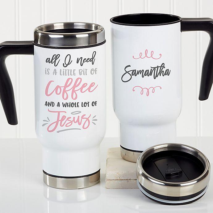 Alternate image 1 for A Little Bit of Coffee & A Lot of Jesus 14 oz. Travel Mug