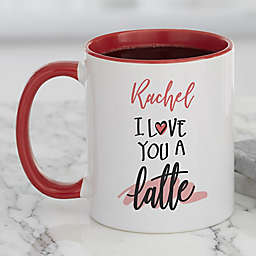 Love You a Latte Personalized Coffee Mug in Red