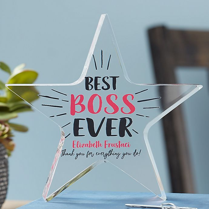 Alternate image 1 for Best Boss Ever Personalized Colored Star Award