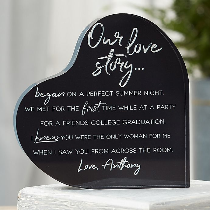 Alternate image 1 for Our Love Story Personalized Colored Heart Keepsake