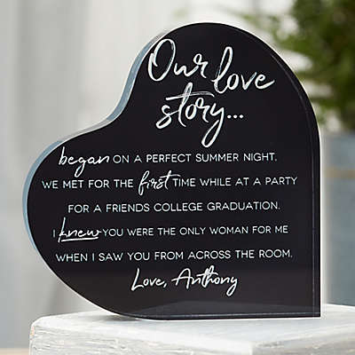 Our Love Story Personalized Colored Heart Keepsake