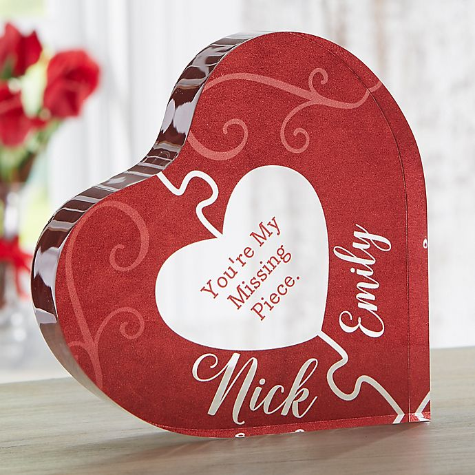 Alternate image 1 for The Missing Piece Personalized Colored Heart Keepsake