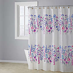 Flower Rows Shower Curtain in Purple