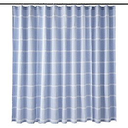 Calvin Klein Eileen Shower Curtain in Blue/White