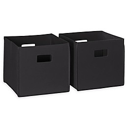 RiveRidge Kids Folding Storage Bins in Black (Set of 2)