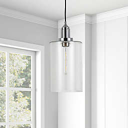 Hudson&Canal Nora Flush-Mount Pendant Light in Blackened Bronze with Seeded Glass Shade