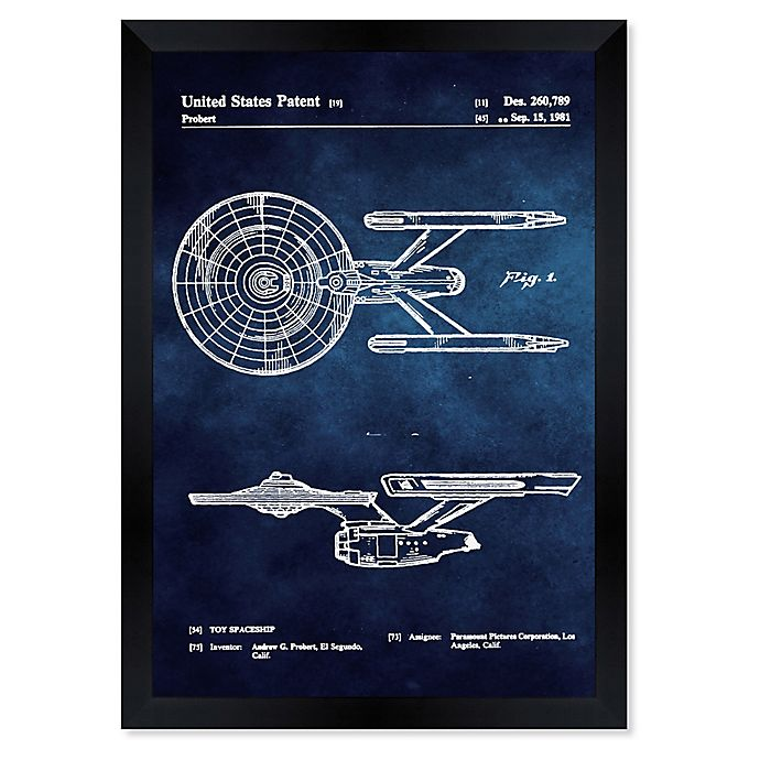 Alternate image 1 for Oliver Gal™ Enterprise 1981 Chalkboard Paper Framed Print in Blue