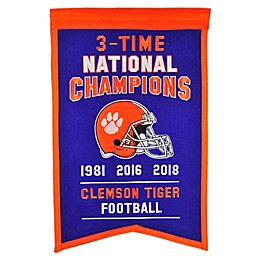 Clemson University 2019 Football National Champions Banner in Purple