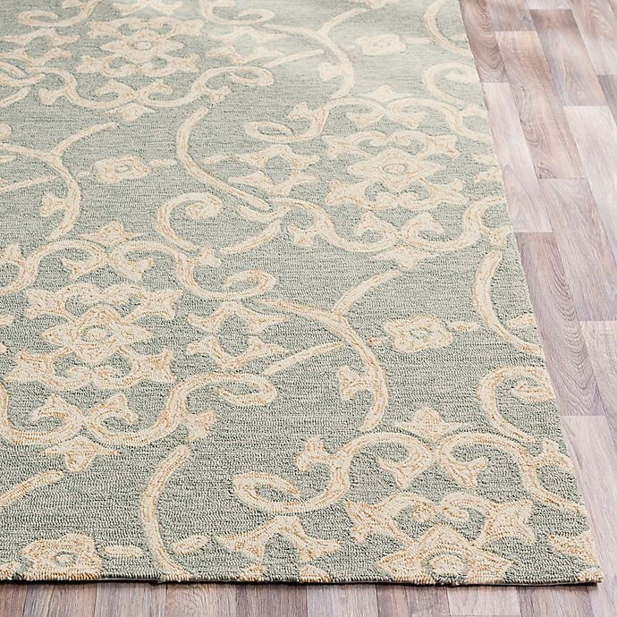 Alternate image 1 for Surya Rain Medallion 2'6 x 8' Hand-Hooked Indoor/Outdoor Area Rug in Green