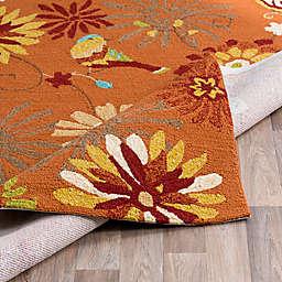 Surya Rain Floral 2'6 x 8' Hand-Hooked Indoor/Outdoor Runner in Orange