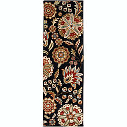 Surya Athena Floral Botanical 3' x 12' Hand Tufted Runner in Black/Red