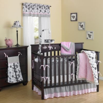New Country Home Laugh Giggle Smile Versailles Pink Minky Plush 10 Piece Crib Bedding Set Baby