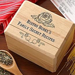 Bon Appetit Wood Recipe Box