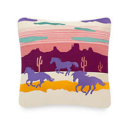 Pendleton Spider Rock Ponies Square Throw Pillow in Magenta