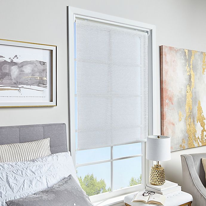 Alternate image 1 for Glitter and Shine Light Filtering 31-Inch x 64-Inch Cordless Shade in White