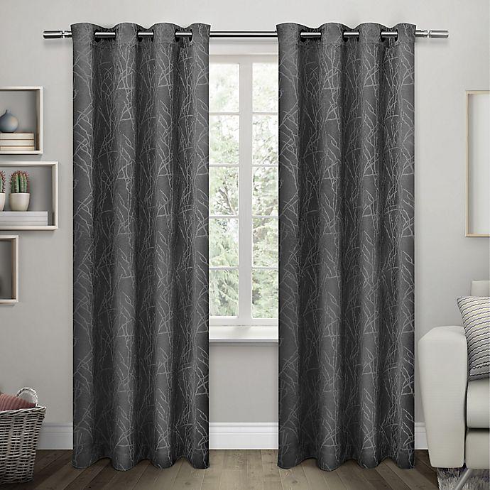 Alternate image 1 for Twig Grommet Room Darkening Window Curtain Panel Pair in Black Pearl