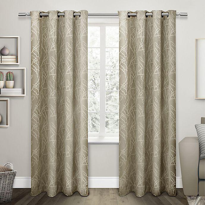 Alternate image 1 for Twig Grommet Room Darkening Window Curtain Panel Pair in Taupe