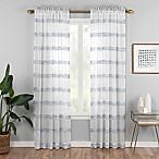 Kyoto 84-Inch Rod Pocket Sheer Window Curtain Panel in Indigo
