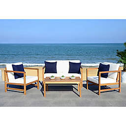 Safavieh Montez 4-Piece Acacia Wood Conversation Set in Teak/Navy with Accent Pillows