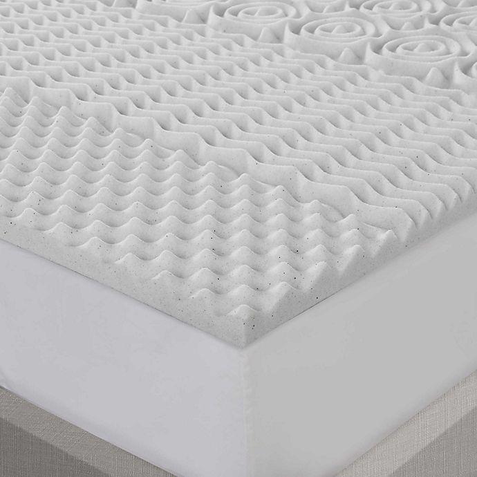 Alternate image 1 for Sleep Philosophy Flexapedic Graphite Memory Foam Queen Mattress Topper in Grey