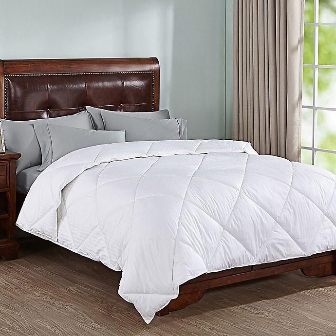 Alternate image 1 for Peace Nest Doby Stripe Down Alternative King Comforter in White