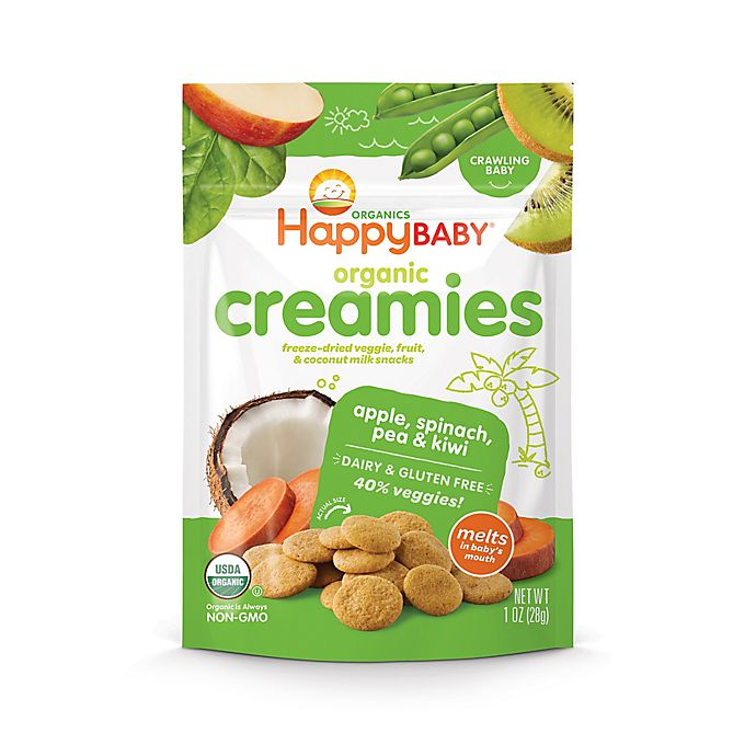 Alternate image 1 for Happy Baby™Happy Creamies™ 1 oz. Organic Dairy-Free Snack in Apple, Spinach, Pea & Kiwi
