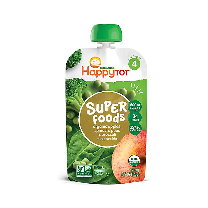 Alternate image 1 for Happy Baby™ Happy Tot™ 4.22 oz. Stage 4 Organic Food w/Apple/Spinach/Pea/Broccoli