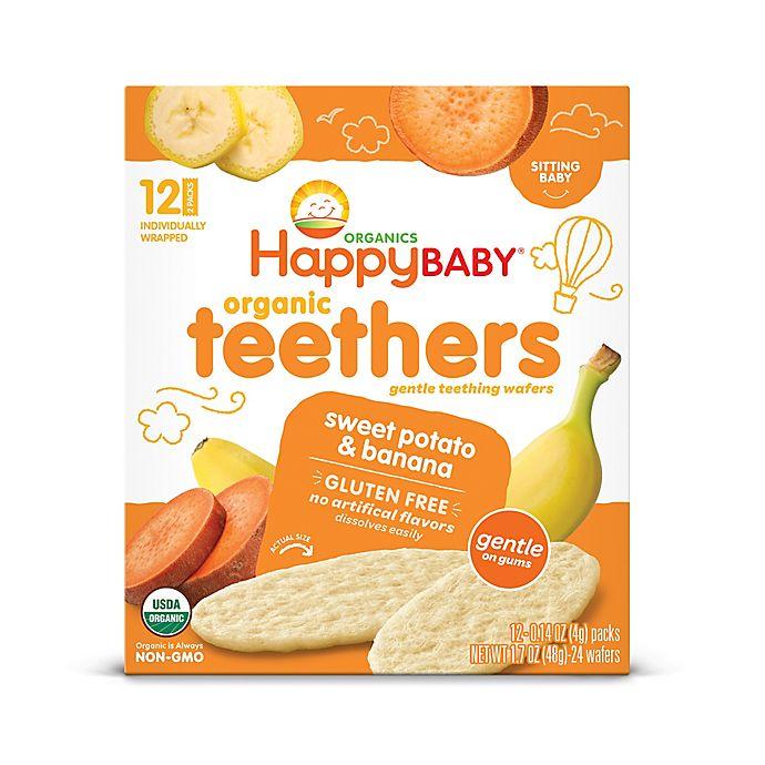 Alternate image 1 for Happy Baby™ Gentle Teethers 12-Packs of 2 Banana & Sweet Potato Organic Teething Wafers