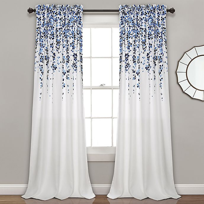 Alternate image 1 for Weeping Flower 84-Inch Rod Pocket Window Curtain Panel Pair in Navy