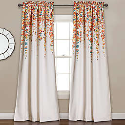 Weeping Flower 2-Pack95-Inch Rod Pocket Window Curtain in Turquoise (Set of 2)