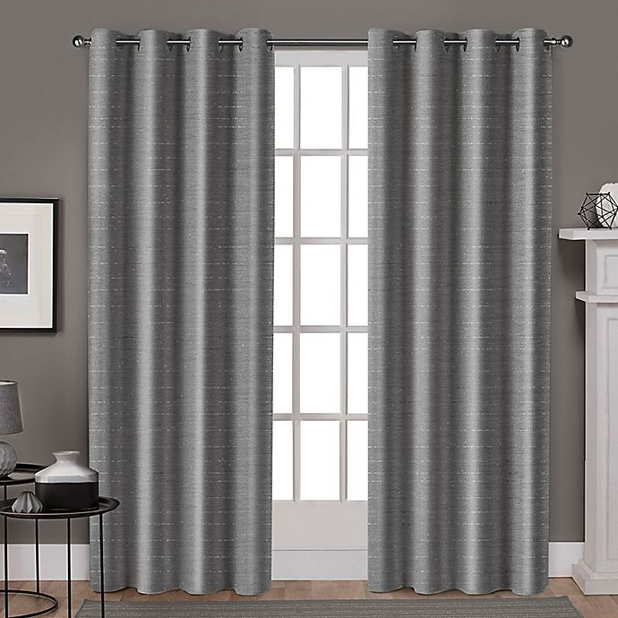 Alternate image 1 for Whitby 108-Inch Grommet Top Window Curtain Panel Pair in Black Pearl