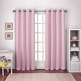 Textured Woven Grommet Top Window Curtain Panel Pair