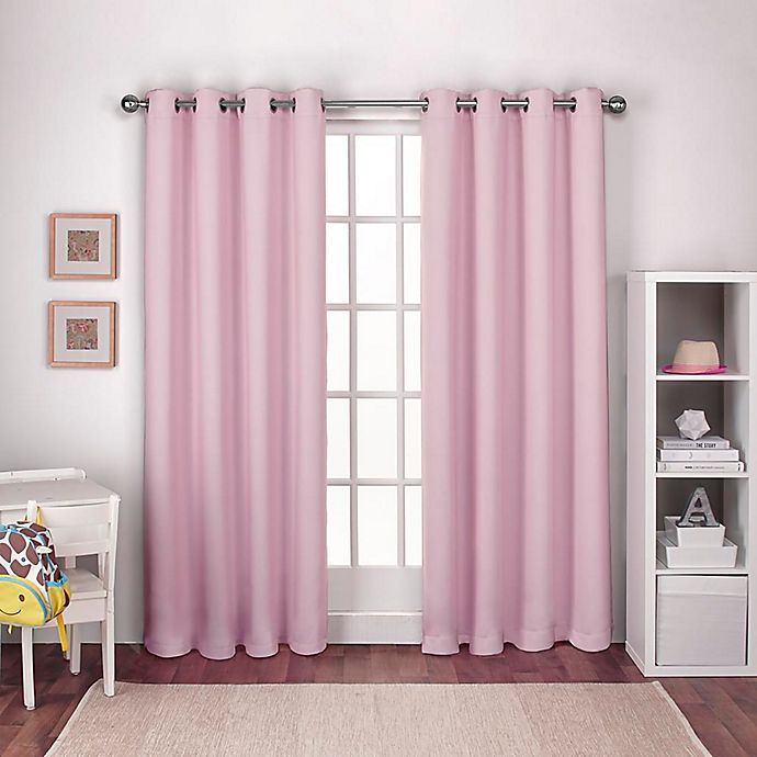 Alternate image 1 for Textured Woven 84-Inch Grommet Top Window Curtain Panel Pair in Bubblegum Pink