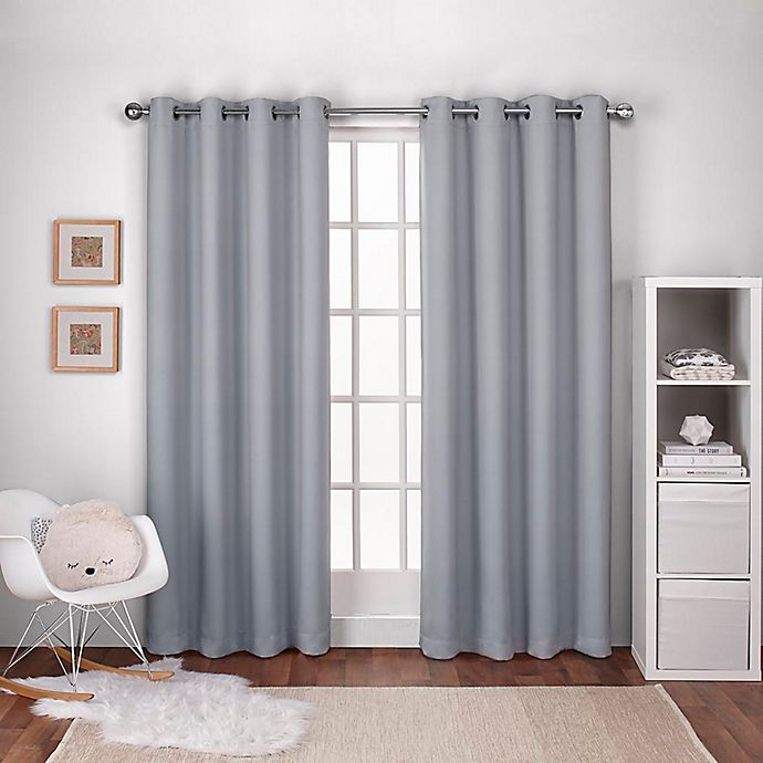 Alternate image 1 for Textured Woven 84-Inch Grommet Top Window Curtain Panel Pair in Dove Grey