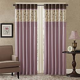 Madison Park Serene Embroidered 84-Inch Rod Pocket Window Curtain Panel