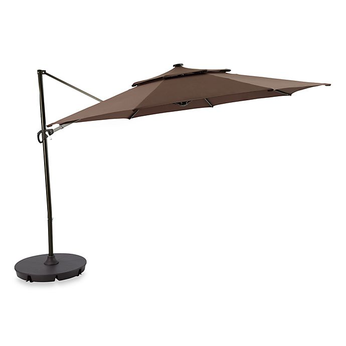 Alternate image 1 for 11-Foot Round Solar Cantilever Umbrella in Chocolate