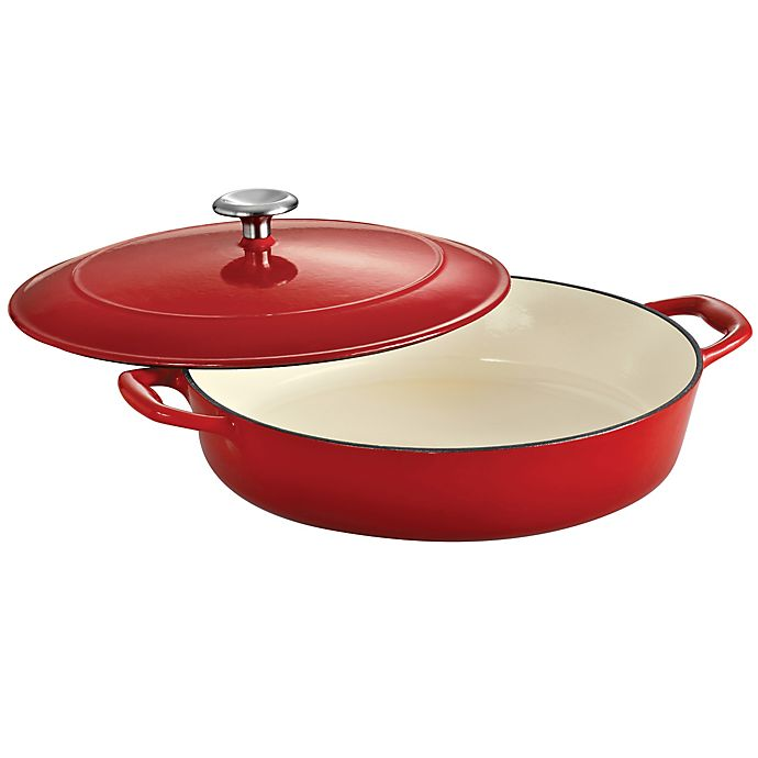 Alternate image 1 for Tramontina® Gourmet Cast Iron Series 1000 4-Quart Covered Braiser in Red
