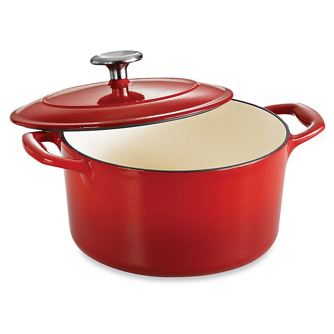Alternate image 1 for Tramontina® Gourmet Cast Iron Series 1000 3.5-Quart Covered Round Dutch Oven in Red