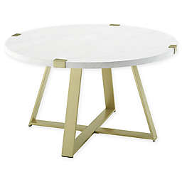 Forest Gate™ Sage Industrial Modern Round Coffee Table in Gold